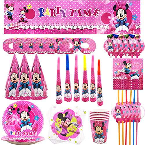 YUESEN Set de Fiesta de cumpleaños de Minnie Disney Minnie Mouse Party Decoration Set Platos Tazas Servilletas Pack de Fiesta reciclable Minnie Mantel Sirve para 6 Invitados 69PCS