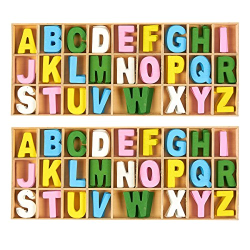 Wooden Letters - 260-Piece Wooden Craft Letters with Storage Tray Set- Wooden Alphabet Letters for Home Decor, Kids Learning Toy - Multicolor, 1 inch