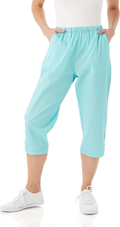 AmeriMark Women's Lattice Hem Capris - 100% Cotton Pants with Elastic Waist