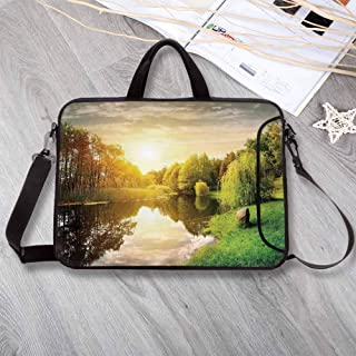 """Landscape Portable Neoprene Laptop Bag,Sunset Over Calm River Grass Willow Trees Grass Rocks Reflection Clouds Laptop Bag for Travel Office School,13.8""""L x 10.2""""W x 0.8""""H"""