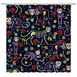 BCNEW Day of the Dead Duschvorhang Totenkopf Katzen & Zuckerschädel Bunte Blumen Paisley Vintage Blumenmuster Polyestergewebe Badezimmer Dekor Set 178 x 178 cm mit Hakenloch