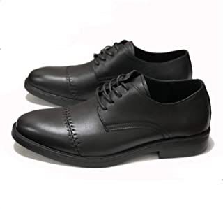 PengCheng Pang Gentle Oxford for Men Dress Shoes Lace up Genuine Leather Round Toe Block Heel Solid Color Lightweight Low Top Sewing Thread (Color : Black, Size : 5.5 UK)