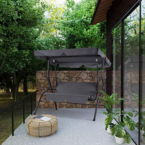 Casaria Hollywoodschaukel Sonnendach Gartenschaukel Schaukelbank Schaukel Garten Indoor Balkon Terrasse anthrazit - 2