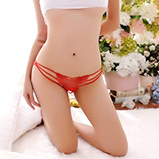 SHENTIANWEI Sexy lingerie sexy low-waist briefs Ms. Butterfly flower Ms. fun underwear (Color : Red, Size : One size)