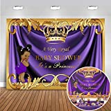 Mehofoto Baby Shower Backdrop Royal Little Princess Purple Crown Photography Background 7x5ft Vinyl Royal Purple Gold Baby Shower Party Banner Backdrops