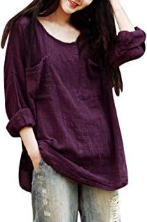 FORUU T Shirts for Women Cotton Linen Thin Section Loose Long Sleeve Blouse Pullover