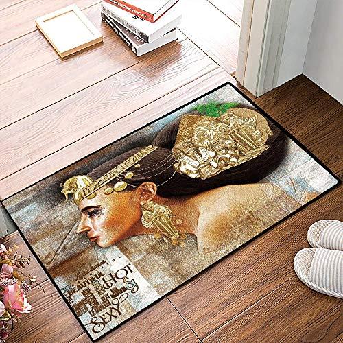 Rutschfester Badvorleger, Ägypterin, Frau Königin Kleopatra Profil Historische Kunstszene mit Antiker Pyramidensphinx Dekorat,Mikrofaser Duschvorleger Teppich für Badezimmer Küche Wohnzimmer 40x60 cm