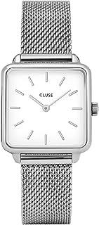 CLUSE LA TÉTRAGONE Silver Mesh White CL60001 Women's Watch 29mm Square Dial Stainless Steel Strap Minimalistic Design Casual Dress Japanese Quartz Precision