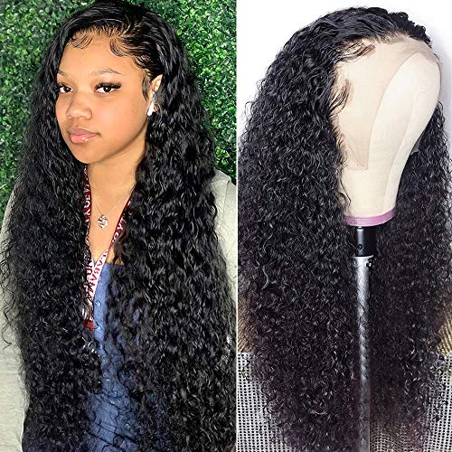 Lace Front Wig Jerry Curl Human Hair Pre Plucked with Baby Hair Curly 13x4 Lace Frontal Wig 100% Unprocessed Brazilian Human Hair Natural Color for Black Women(18 inch)
