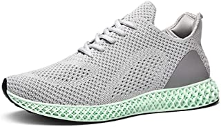 Shangruiqi Summer Breathable Athletics Sneakers for Men Sport Running Shoes Lace up Knit Mesh Fabric Lightweight Antislip Hollow Outsole Anti-Wear (Color : Gray, Size : 2 UK Child)
