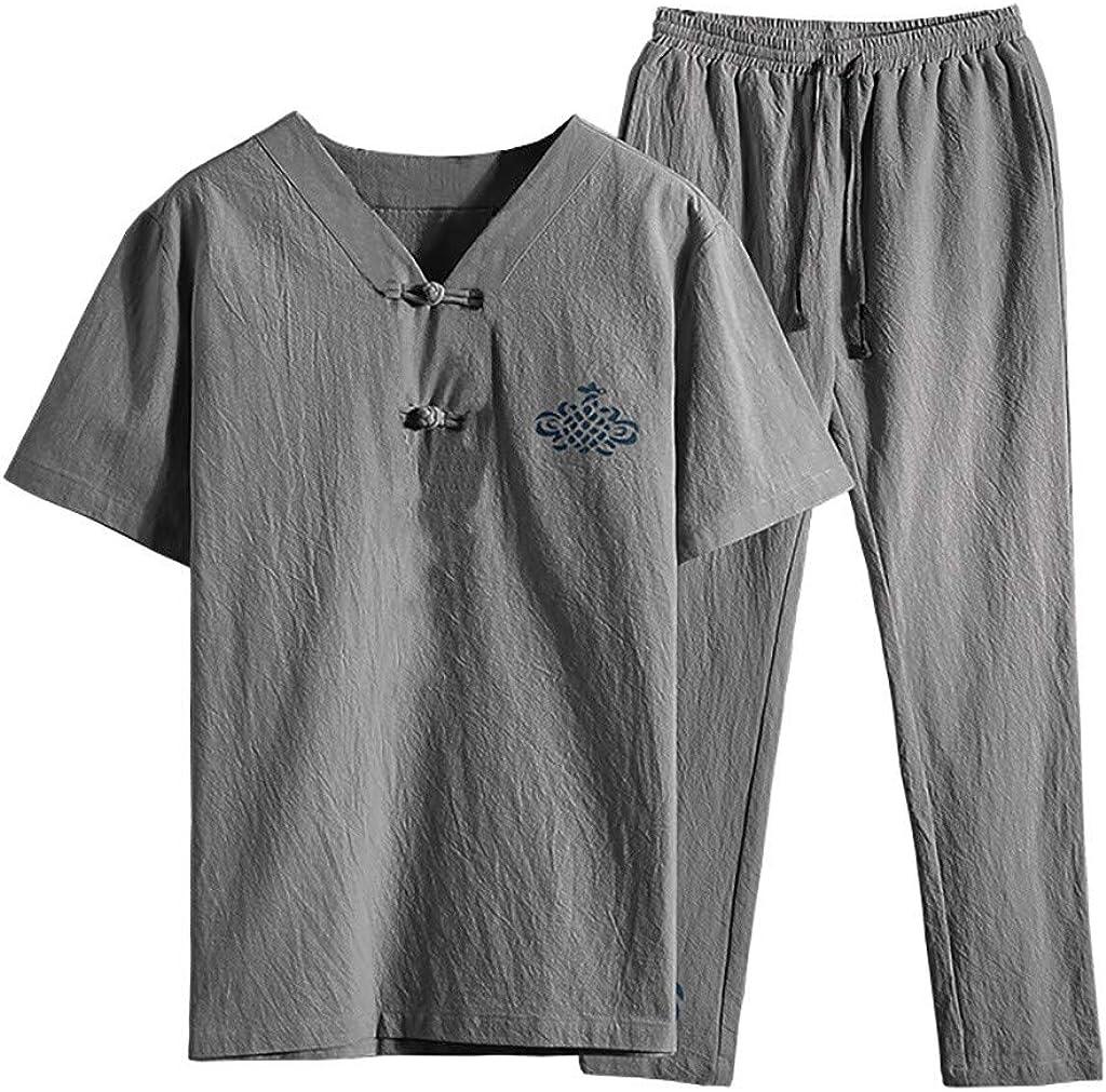 FONMA Men's Summer Fashion Casual Printing Cotton-Hemp Short Sleeve Long Pants Suit