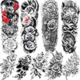 Rejaski 9 Sheets 3D Sexy Full Arm Flower Temporary Tattoos For Women Black Sketch Rose Clock Body Art Extra Long Fake Temporary Tattoo Sleeve Waterproof Large Peony Floral Black Compass Tatoos Sticker
