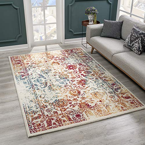 SANAT Teppich Vintage - Modern Teppiche für Wohnzimmer, Kurzflor Teppich in Rot/Gelb/Blau, Öko-Tex 100 Zertifiziert, Größe: 200x290 cm