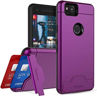 Teelevo Wallet Case for Google Pixel 2 - Dual Layer Case with Card Slot Holder and Kickstand for Google Pixel 2 (2017) - Purple