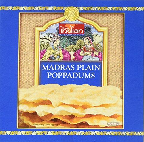Truly Indian Poppadums Madras (Indisches Fladenbrot aus Linsenmehl für die Zubereitung in der Pfanne, Als Beilage oder Snack) (12 x 112 g)