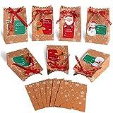 MonQi 24 pcs Cajas de Regalo Navidad, Bolsas de regalo navidad Papel Kraft con 24 Etiquetas Navideñas para Decoración de Navidad Caramelos Dulces Galletas Chocolates(12 x 7 x 18.5cm) (24pcs)