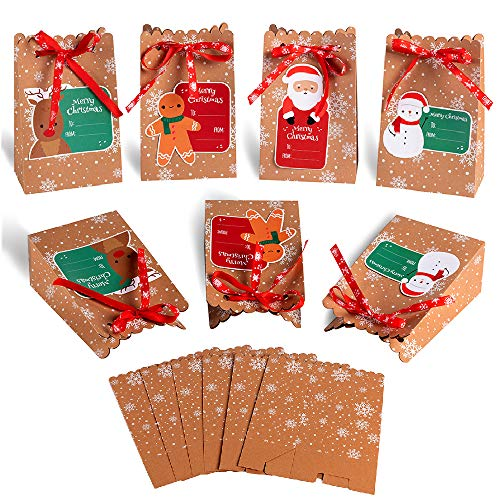 MonQi 24pcs Sacs de Cadeau de Noël en Papier Kraft 24 Etiquettes Noël, Boîtes Cadeau de Noël pour Bonbons Cadeaux de Noël, Mariage, Fête, Anniversaire Mariage(12 x 7 x 18.5cm) (24pcs)