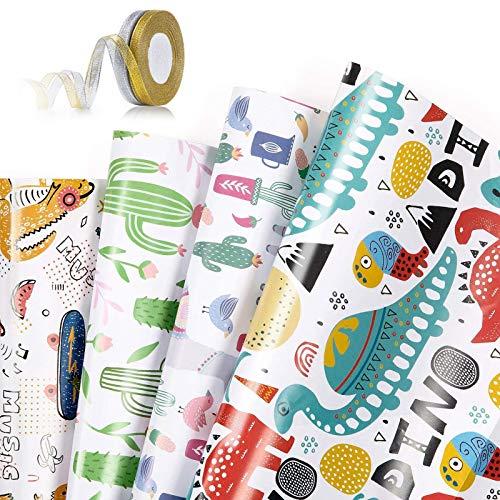 Papier Cadeau Rouleau Lot de 4 Papier Cadeau et 2 Rouleaux de Ruban Feuilles De Papier d'emballage Impression Dorée Cadeau pour Anniversaire Mariage Noël Thanksgiving Cadeau de Naissance,70 x 50 cm