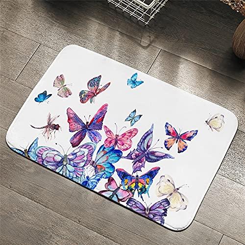OPLJ Alfombras rectangulares de Mariposas, Alfombrillas de Color para dormitorios, alfombras de baño Antideslizantes con Estampado Floral, alfombras Lavables A3 50x80cm