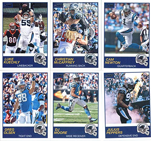 2019 Panini Score Football Veteran Carolina Panthers Team Set of 10 Cards: Cam Newton(#253), Christian McCaffrey(#254), Luke Kuechly(#255), Julius Peppers(#256), DJ Moore(#257), Greg Olsen(#258), Devin Funchess(#259), Mike Adams(#260), Shaq Thompson(#261), Mario Addison(#262)