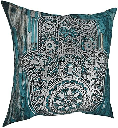 Funda de almohada cuadrada de madera de Hamsa con diseño de mano en turquesa, 45 x 45 cm