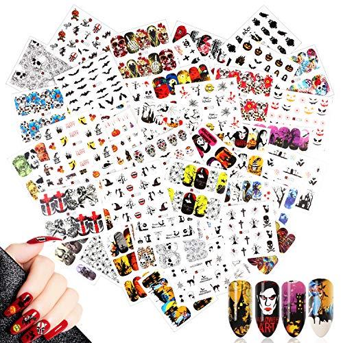 48 Blatt Halloween Nail Art Sticker,MWOOT Nagel Wassertransfer Aufkleber Sticker Decals Set mit Skull Fledermaus Geist Kürbis Spinne für DIY Nagelspitzen Dekoration