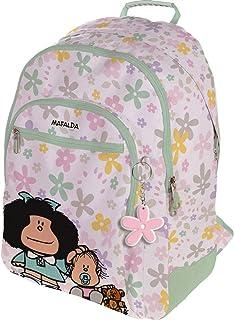 37500154 Colección Mafalda Mochila Escolar, 3 Compartimentos Principales, Bolsillo Exterior, Modelo Flores, 33 x 45 x 22.5 cm