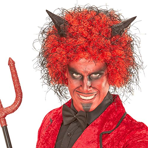 NET TOYS Halloween Perücke für Herren Lucifer Teufel Teufelsperücke Teufelperücke Herrenperücke Halloweenperücke