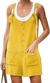 FSSE Women's Cotton Linen Single Breasted Overalls Solid Summer Short Jumpsuit Romper