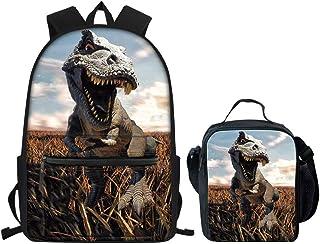 Mochila escolar y lonchera para niños y niñas, mochila de viaje pequeña, Juego de bolsas de dinosaurios (Gris) - Nopersonality