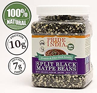 Pride Of India - Indian Split Black Gram Matpe Beans - Protein & Fiber Rich Urad Dal, 3 Pound Jar