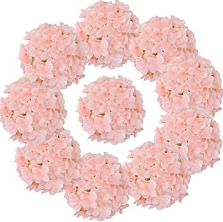 LUSHIDI Silk Hydrangea Heads with Stems Artificial Flowers Heads for Home Wedding Decor,Pack of 10 (Peach Pink)