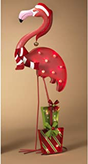 Lighted Christmas Pink Flamingo with Gift Boxes and Santa Hat - Light Up Holiday Decoration (Facing Left)