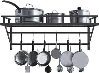 KES Wall Mounted Pot Pan Rack with 2 Bars and 12 Hooks for Kitchen 30 Inch Metal Pot Pan Shelf Matte Black, KUR216S75-BK