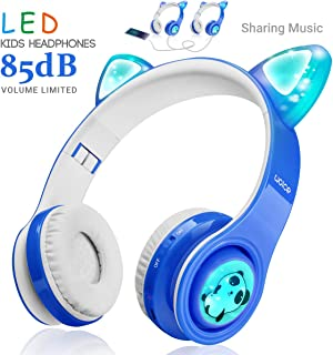 WOICE Wireless Bluetooth Kids Headphones, LED Flashing Lights, Music Sharing Function, 85db Volume Limited, Over-Ear and Build-in Mic Wireless/Wired Children Headphones for Boys Girls Blue W01