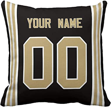 """Personalized Custom Football Decorative Throw Pillow 18"""" x 18"""" - Print Personalized Customization Select Any Name & Any Numbe"""