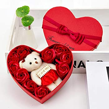 Caja De Regalo De Rosa De Flor JabóN DíA De San ValentíN 10 Flores JabóN Flor