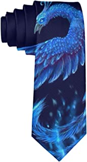 Dark Blue Ice Phoenix Bird Necktie - Classic Fashion Gentleman Gift Tie Wedding Party Necktie