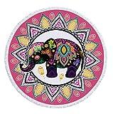 Toalla De Playa Redonda,Mandala Rosa Tela Multicolor De Microfibra De Elefante, Con Franjas Con Flecos, Mantel De Playa De Yoga De Mantel Con Estampado Animal Novedoso, Adecuado Para La Decoració