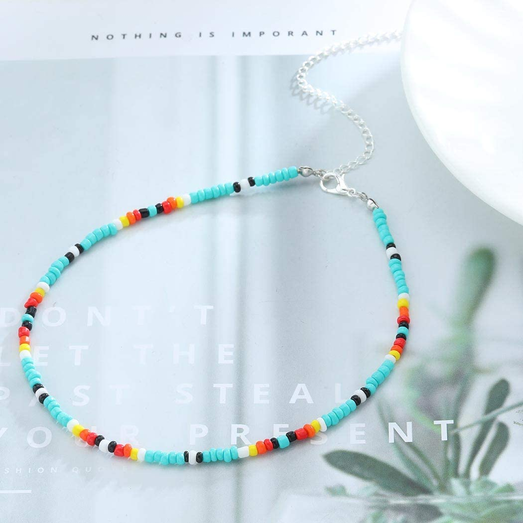 Yalice Boho Choker Necklace Chain Rainbow Seed Bead Necklaces Jewelry for Women and Girls