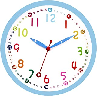 Lucor Colorful Kids Wall Clock 12 Inch Silent Non-Ticking Quality Quartz Battery Operated Wall Clocks, Easy to Read Multi Colored Numbers Nursery Classroom Office Kitchen, Blue Frame