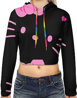 Women's Long Sleeve Hello Kitty Black Face Printed Pullove Sweatshirt Crop Top Hoodies