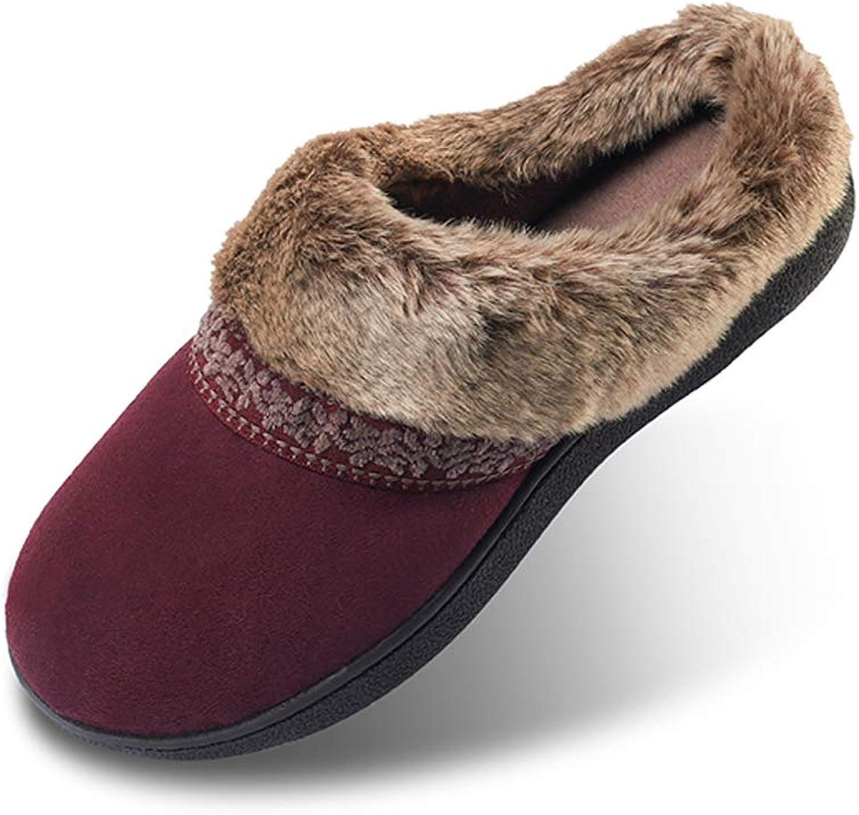 AnTuoBsc Women's Memory Foam Slippers Non Slip Soft Plush Fleece Lined House shoes Indoor Outdoor Grey