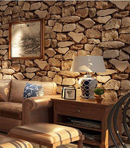 HUQI 3D Stereo Stein Tapete Simulation Kultur Stein Europäischer Stil Retro Steine Tapete Study Zimmer Wohnzimmer Restaurant Cafe 0.53M * 10M,Brown…
