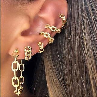 Aimimier Bohemian Geometric Chain Link Stud Earrings Non-Piercing Cartilage Ear Clip Punk Hoop Ear Cuff for Women and Girls