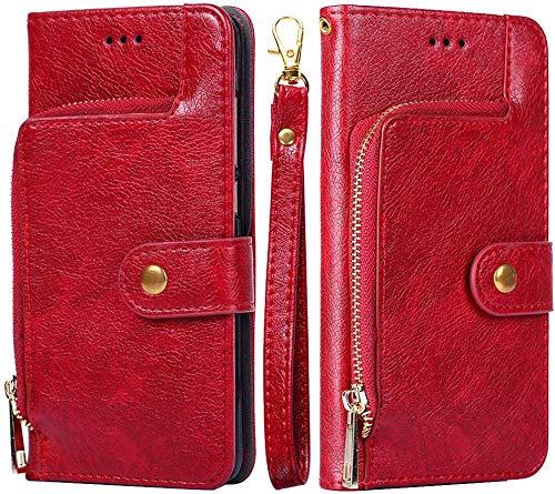 Felfy Kompatibel mit Huawei P10 Lite Hülle Tasche Premium PU Leder HandyHülle Magnetische Flip Case Cover Retro Klapphülle Lederhülle mit Reißverschluss Brieftasche Schutzhülle mit Kartenfach - Rot