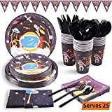 Outer Space Party Supplies 177PCS Astronaut Planet Theme Children Birthday Disposable Dinnerware Set Includes...