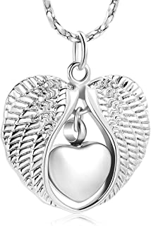 Imrsanl Cremation Jewelry Urn Necklace for Ashes Angel Wing Ashes Pendant, Memorial Keepsake Jewelry for Pet/Human