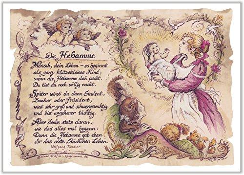Geschenk Hebamme Geburtshelferin Geburtshilfe Zeichnung Color 20 x 15 cm