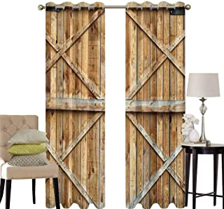 hengshu Rustic Living Room Curtains 2 Panel Sets Traditional Wooden Timber Door with Vertical and Planks Farmhouse Antique Photograph Home Decor Blackout Curtains W52 x L63 Inch Brown